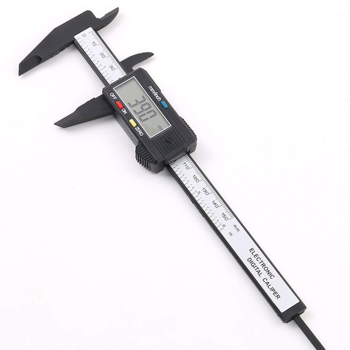 150mm 6 pouces LCD num/érique /électronique en Fiber de carbone vernier pied /à coulisse jauge microm/ètre outil de mesure noir Freeday-uk