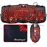 BlueFinger LED Gaming Keyboard and Mouse Combo,Mechanical Feeling USB Wired Keyboard Mouse Game Set,114 Keys Letters Glow,3 Color Breathing LED Crack Illumination Keyboard Mouse for Game and Work