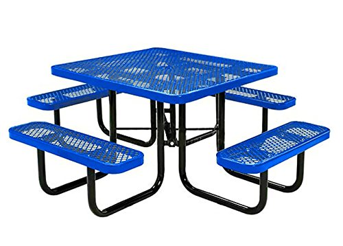 Lifeyard Expanded Metal Mesh Square Picnic Table With Seats - Mesh picnic table