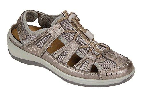 Orthofeet Verona Comfort Orthopedic Diabetic Plantar Fasciitis Womens Sandal Fisherman Gray Leather 9.5 W US
