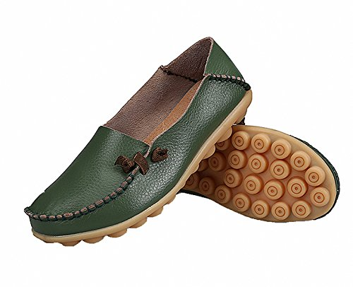 Loafer Shoes,Womens Genuine Leather Loafers Casual Moccasin Driving Shoes Flat Slip-on Slippers Army Green