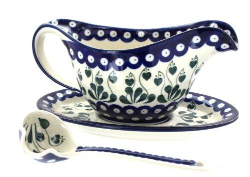 (Blue Rose Polish Pottery Alyce Gravy Boat & Ladle )