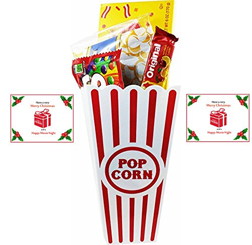 Have A Merry Christmas And A Happy Movie Night Gift Basket ~ Includes Butter Popcorn, Concession Stand Candy and a Gift Card for 2 Free Redbox Movie Rentals (Sugar Babies - Chewy)
