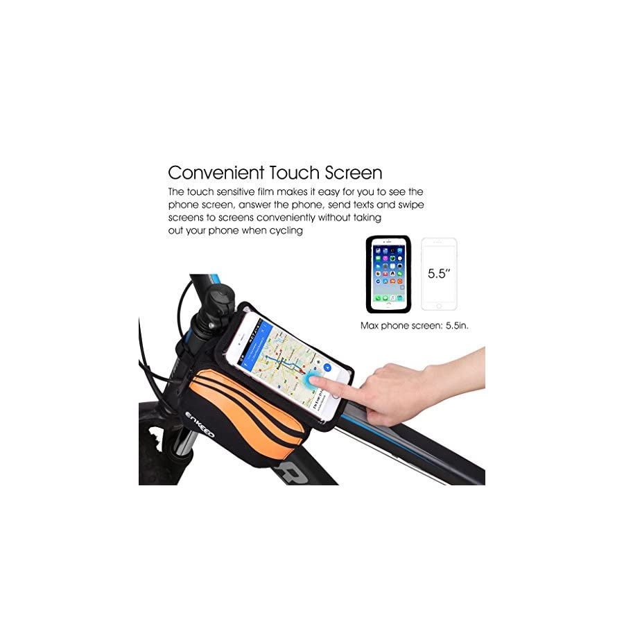 Enkeeo Top Tube Bicycle Bag Bike Pouch 5.5 inch Mobile Phone Screen Touch Holder Water Resistant with 2 Side Pockets, Sealed Zipper, Nylon Fabric for Outdoor Cycling (Black/Orange)