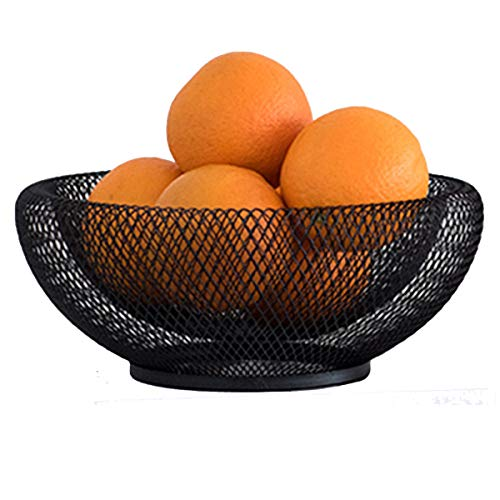 GOLDCHEE Black Metal Double Wall Mesh Fruit Bowl,Creative Countertop Storage Basket, Decorative Table Centerpiece Holder Stand for Fruit Vegetable, Bread, Candy and Other Household Items (A) - Table Top Mesh