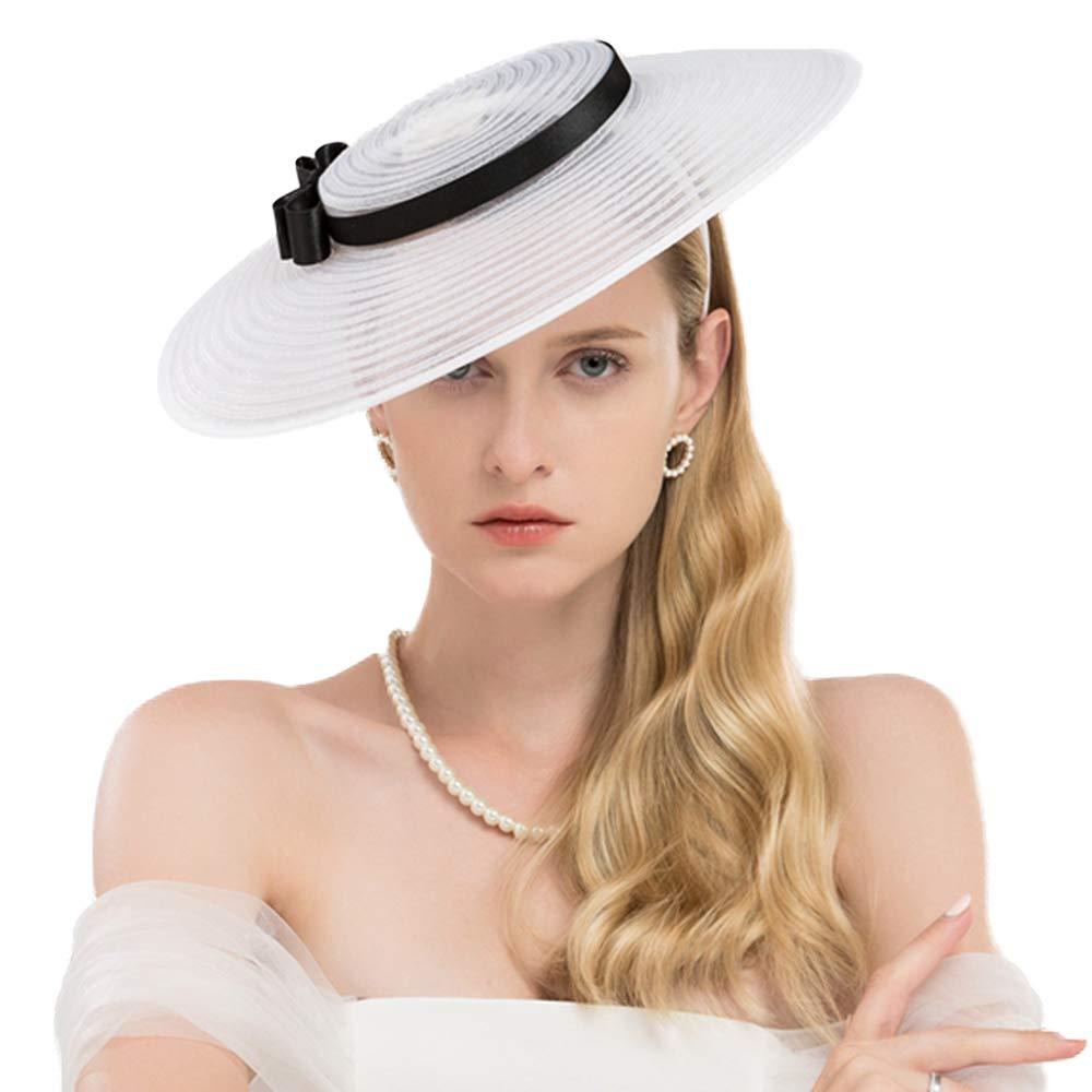 F FADVES Fascinators for Women Elegant Wide Brim Kentucky Derby Church Wedding Hat White