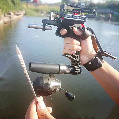 Assolar Powerful Pro Hunting Fishing Laser Flashlight Slingshot Wrist Archery Arrow Rest Slingbow Fishing Reel Hunting Fish Catapult Slingshots(Enhanced Version)