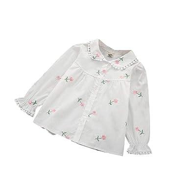 606f112437a10 ALLAIBB ベビー服 長袖シャツ 春 秋 ブラウス 花柄 刺繍 女の子 かわいい おしゃれ お祝い ギフト size
