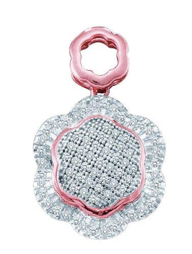 10 k or blanc Diamant 0,25 Dwt pendentif fleur de qualité supérieure Doré JewelryWeb or 9 carats