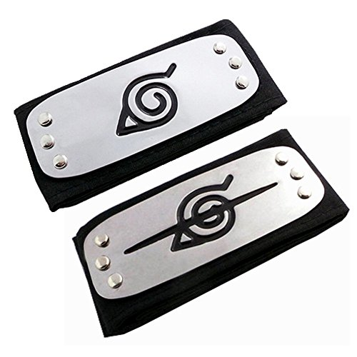 (HappyShip 2PCS Naruto Leaf Village and Anti Leaf Village Headband Ninja Cosplay)