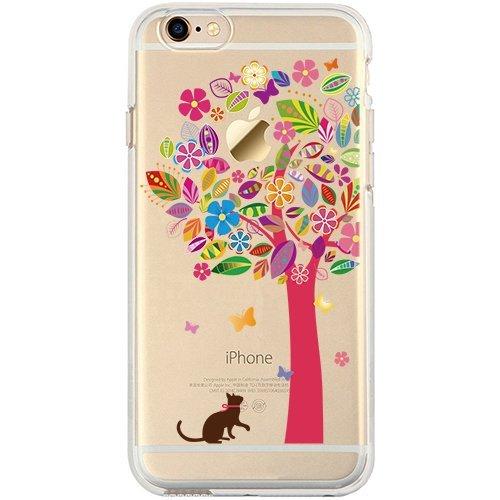 Funda iPhone 7 Plus, TrendyBox Cute Funda para iPhone 7 Plus (Cráneo) Gato y Árbol