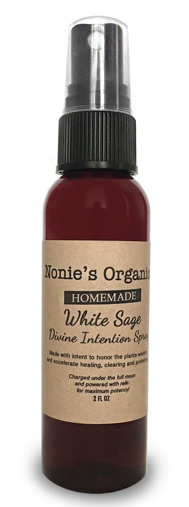 Homemade White Sage Divine Intention Spray: Smokeless Room and Object White Sage Smudge Spray (2 FL OZ)
