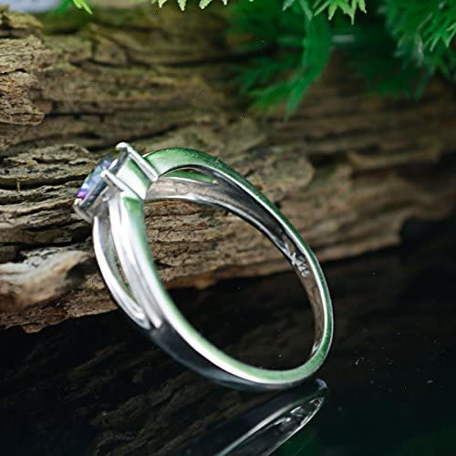 Lovely Gemstones Round Faceted Mystic Quartz Ring Solid Silver Blue Mystic Quartz Lovely Gemstones Ring Supply Jewelry Greatest Selling Shops Gift for College Jewelry