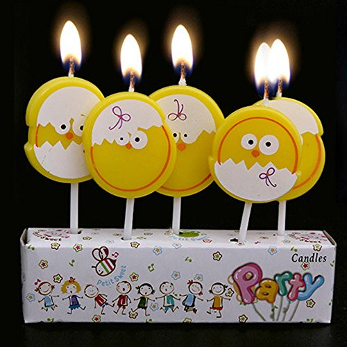 Ecape Cartoon Animal Party Candles Adorable Yellow Little Chicks Candles Handmade Craft Candles Western Cake Decoration Cake Candles 5 Candles a Set