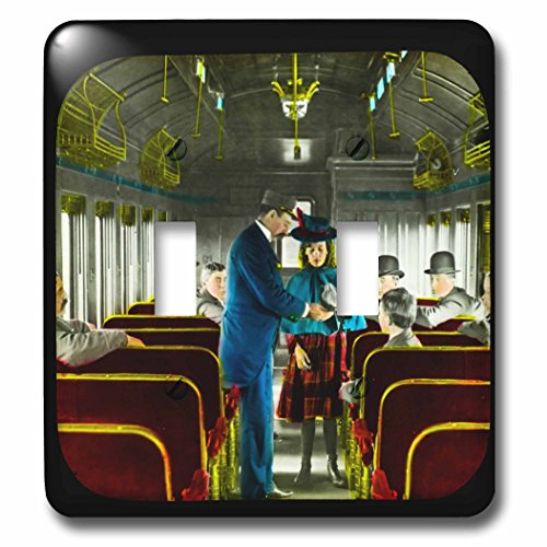 - 3dRose lsp_246868_2 Vintage Railroad Train Conductor Collecting Tickets and Money - Double Toggle Switch