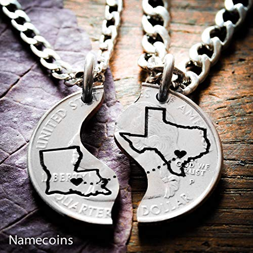 Long Distance Relationship Couples Necklaces, Custom states engraved, Heart on your cities, Coin and Silver Jewelry, By NameCoins