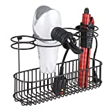 mDesign Metal Wire Cabinet/Wall Mount Hair Care & Styling Tool Organizer - Bathroom Storage Basket for Hair Dryer, Flat Iron, Curling Wand, Hair Straightener, Brushes - Holds Hot Tools - Bronze