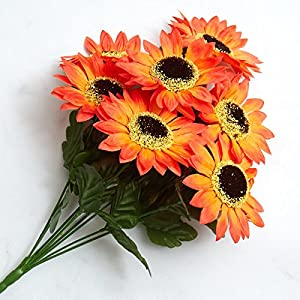 Factory Direct Craft Colorful Orange Poly Silk Artificial Sunflower Bush for Indoor Decor 85