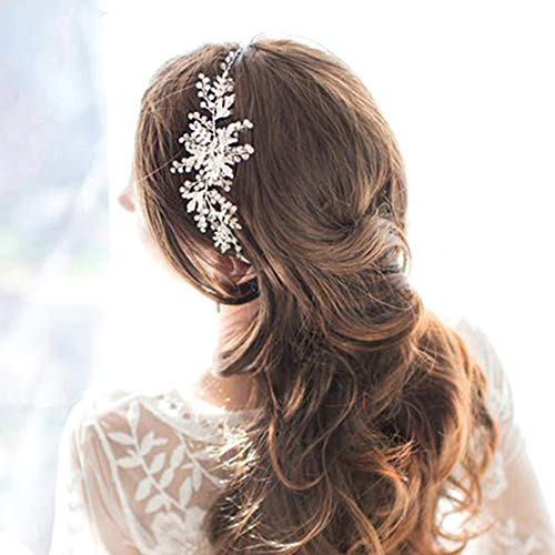 Wholesale Victorian Jewelry - Handmade Austrian Crystal & Pearl Wedding Prom Bridesmaid Satin Ribbon Headband Hair Vine Jewelry Accessory, Clearance Wholesale (White Opal-Silver)