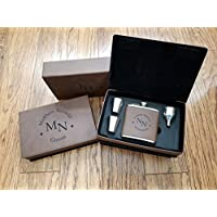 Engraved Dark Brown Leather Groomsmen Flask