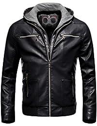 Men's Removable Hoodie Jacket Casual Slim Fit Coat Black