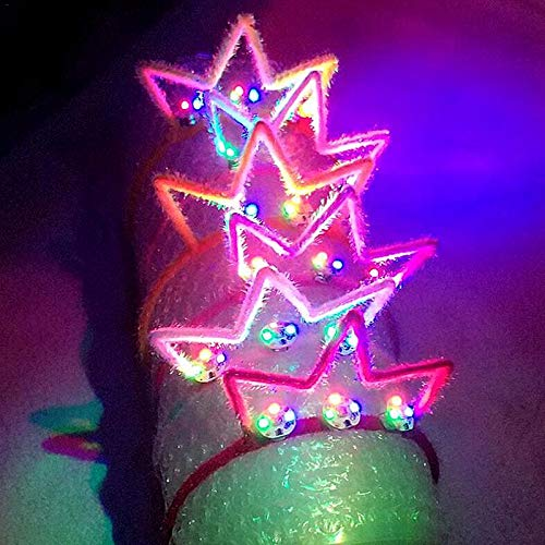 Mini Mexx Adults LED Flashing Glowing Bunny Ears Headband Light Up Hairband Birthday Glow Party Halloween Christmas Headwear