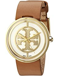 TRB4020 Tory Burch Reva Women Watch Luggage Leather Logo Ivory Dial 36 mm