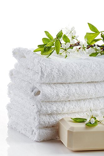 Zeppoli 24Pack Washcloths  100 Natural Cotton 12 x 12 Inches Commercial Grade Washcloth Machine