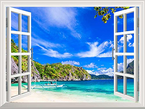Removable Wall Sticker Wall Mural Panorama of Beautiful Beach in El Nido Palawan Philippines Creative Window View Wall Decor