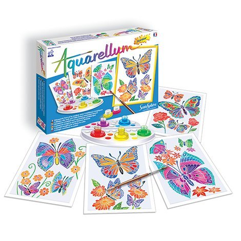 SentoSphere Aquarellum Junior - Butterflies & Flowers Watercolor Paint Set
