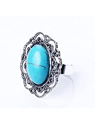 QIYUN.Z New Hollow Out Lace With A Blue Stone Very Beautiful Womens Girls Favorite Bague