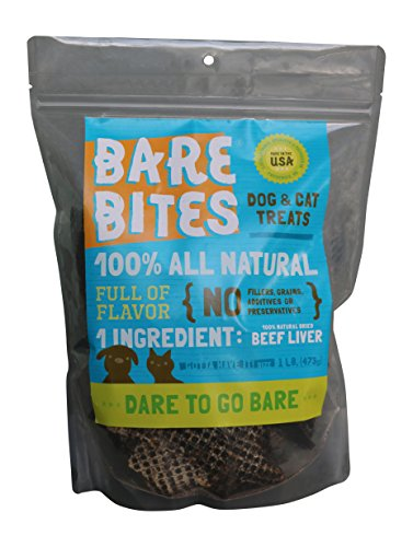 Bare Bites All Natural Dehydrated Beef Liver Dog Cat Treats (1 pound) Dog Beef Cat Treats
