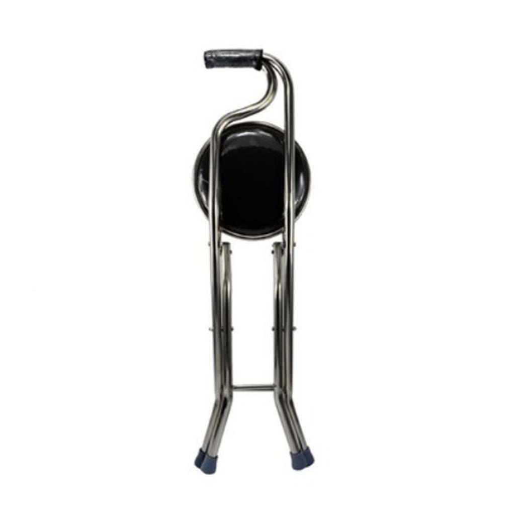 MOXIN Cane seat walking stick seat canes three-legged stool chairs for the elderly the elderly walking stick stool , a , four s black stool
