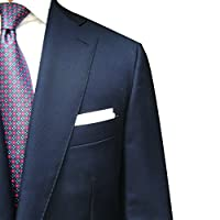 100% White Linen Handmade Pocket Square Handkerchief in Perfect Suit Size (3-PACK)