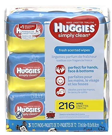 Huggies Simply Clean Fresh Scent Baby Wipes Disposable Soft Packs (72x3)/ 2 Pack