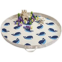 3 Sprouts Play Mat Bag, Whale, Blue