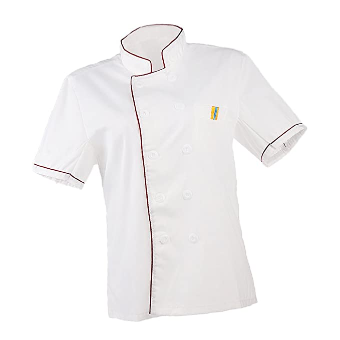 Prettyia 2pcs Abrigos de Manga Corta Trabajador de Cocina Hotel Restaurante Profesional Chef Unsiexo - Blanco, Única: Amazon.es: Ropa y accesorios