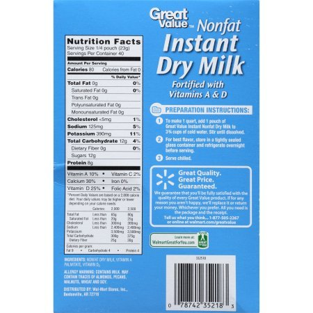 PACK OF 4 - Great Value Nonfat Instant Dry Milk, 3.2 oz, 10 count by Great Value (Image #2)