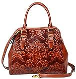 Pijushi Floral Handbag Designer Leather Shoulder Top Handle Bag (One Size, 91754 Orange)