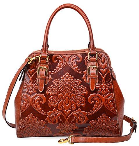 Pijushi Floral Handbag Designer Leather Shoulder Top Handle Bag (One Size, 91754 Orange) by PIJUSHI