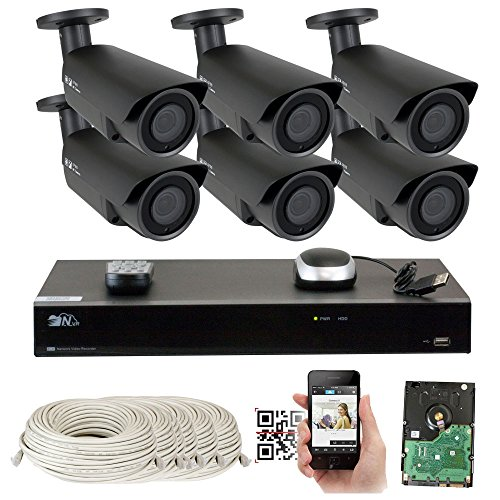 8 Channel H.265 4K NVR 5MP 1920p POE IP Camera System Wired, 6 x Varifocal Zoom 2.8-12mm Outdoor Indoor Security Camera - H.265 (Double recording data and enhance picture quality compared to H.264) by GW Security Inc