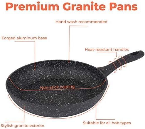 Poêle antiadhésive en aluminium à base de pierre pour crêpes, œufs sautés en métal pour gaz, plaques à induction électriques Pot anti-rayures et poignée ergonomique