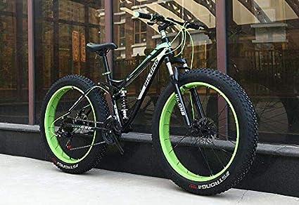 GASLIKE Bicicleta de montaña Fat Tire para Adultos, Cuadro de Acero con Alto Contenido de Carbono, Cuadro de suspensión Doble rígido, Freno de Doble Disco, neumático de 4.0 Pulgadas