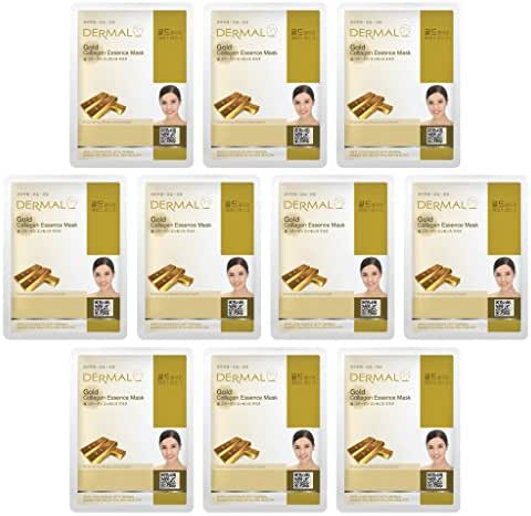 DERMAL Collagen Essence Facial Mask Sheet 23g Pack of 10 - A (Gold)