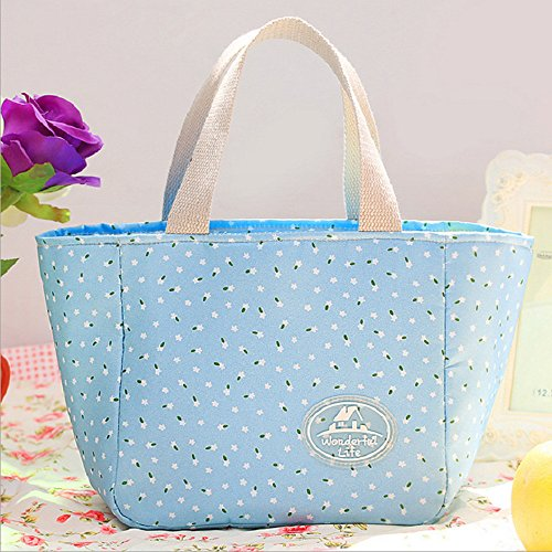 Jessie storee Cold Insulation Lunch Bag Sky Blue Small Floral Waterproof Cooler Oxford Cloth Bento Box Portable Oil-Proof Rice Meal Rice Bag Tote Box for Boys Picnic Hiking Beach Fishing (Mickey Mouse Head Lunch Box With Thermos)