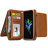 """XS Mas iPhone Case,6.5"""" Girls Multi-Function Phone Case with Hand Strap,Sammid Detachable Premium PU Leather Protective Cover with Card Slots Holder and Kickstand for iPhone XS Mas - Light Brown"""