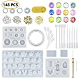 JOFAMY 10 Pack Jewelry Casting Molds Silicone Clear Molds for Resin with 100Pcs Screw Eye Pins,5 Plastic Stirrers,5 Plastic Spoons,5 Plastic Droppers, Hand Twist Drill, Shell Paper Flakes& fingerstall