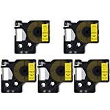 DYMO D1 40918 41918 Label Tape, LaBold 5 Pack Black on Yellow Label Tape Cassette Compatible for DYMO Standard D1 40918 S0720730 Label Manager 3/8'' x 23' (9mm x 7m)