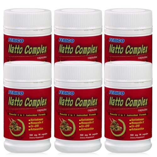 FEBICO Natto CFEBICO Natto Complex Nattokinase Enzyme (2, 000 Fu). Vegetable Capsules 500mg. Set of 6 by FEBICO