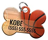Sport Themes Pet ID Dog Tag - Personalized Custom Pet Tag with Pets Name & Contact Number [Multiple Font Choices] [USA COMPANY] [Baseball - Football - Soccer - Basketball] (Basketball)